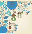blue flowers background and bird cages vector image vector image
