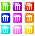 box of popcorn icons 9 set vector image vector image