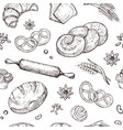 bread seamless pattern vintage sketch bakery vector image