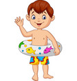 cartoon little boy with inflatable ring vector image vector image
