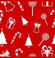 christmas seamless pattern on red background new vector image