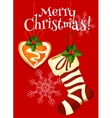 Christmas stocking and gingerbread holiday card vector image