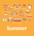 collection summer icons vector image