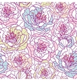 Colorful line art flowers seamless pattern vector image vector image