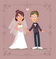 cute cartoon couple getting married vector image