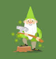 cute dwarf in a green jacket and hat standing with vector image vector image