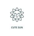 cute sun line icon cute sun outline sign vector image