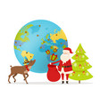 delivery of christmas present around world vector image