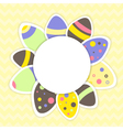 Easter eggs pattern on a yellow