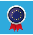 EU badge with red ribbon vector image vector image