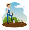 farmer working in the garden vector image vector image