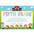 Fifth grade diploma with teachers and kids vector image vector image