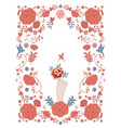 floral frame inspired embroidered fabrics vector image