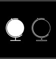 globe icon set white color flat style simple image vector image