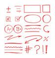 grade school results markers hand drawn set vector image vector image