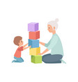 granny and her little grandson sitting on the vector image vector image