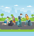 group people cleaning up city park vector image vector image