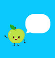 happy smilling cute apple with speech bubble vector image vector image
