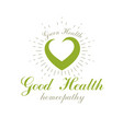 heart shape composed with green leaves restoring vector image vector image