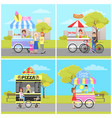 ice cream hot dog pizza and candy cotton vans vector image vector image