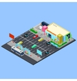 Isometric City Supermarket Building vector image vector image