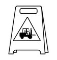 line plastic caution emblem and laborer with vector image vector image