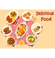 Meat with vegetable dishes icon for lunch design vector image vector image