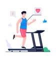 men exercise using a treadmill concept vector image vector image
