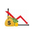 money loss cash with down arrow stocks graph vector image vector image