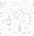 newborn bashower nursery seamless pattern thin vector image vector image