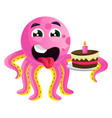 octopus with a birthday cake on white background vector image vector image