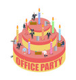office party cake and managers holiday at work vector image vector image