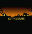 pumpkin on the hill background halloween vector image vector image