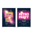 retro music party cartoon flyer template vector image