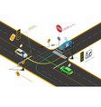 road intersection isometric concept vector image vector image