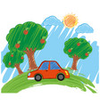scene with red car in the park vector image