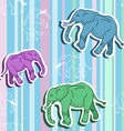 Seamless elephant pattern on stripped wallpaper vector image vector image