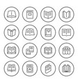 set round line icons of book vector image