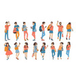 set young walking and chatting people vector image