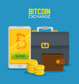 smartphone with bitcoin currency and briefcase vector image