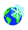 snowflake against the background of the planet vector image