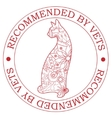 Stamp recommended by vets with cat vector image vector image