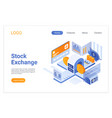 stock exchange isometric landing page template vector image vector image