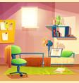 student small room cartoon bedroom vector image vector image