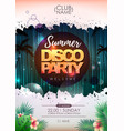summer party poster design on neon background vector image vector image