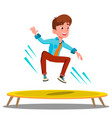 teenager jumping on a trampoline isolated vector image