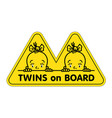 twins in car sticker fases of baby girls and logo vector image vector image