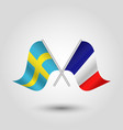 two crossed swedish and french flags vector image vector image
