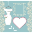 Wedding bridal dress with paisley border label vector image vector image