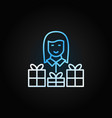 woman with gift colored line icon on dark vector image vector image